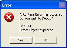 Java Runtime Error Message Sample